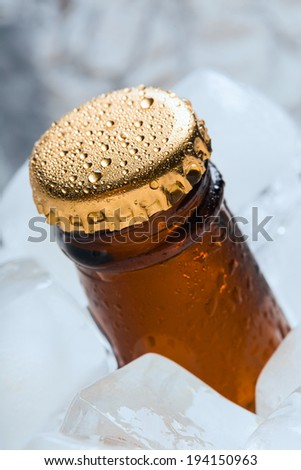 Bottle with soft drinks or alcohol in the ice. On gold caps and a bottle neck are drops of dew. Macro.