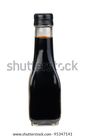 bottle with  soy sauce isolated on the white background