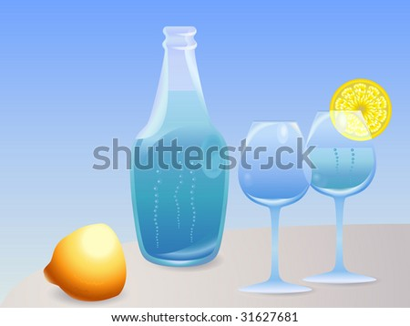 Bottle with water, glasses and lemon
