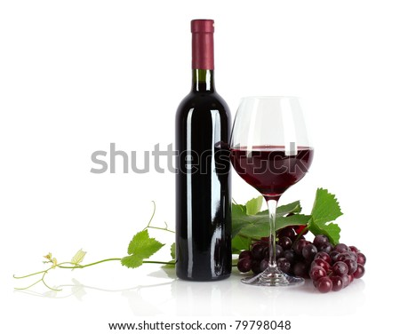 Bottle with wine isolated on white