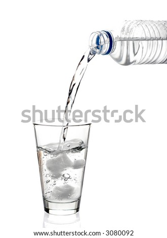Bottled water being poured into a glass against white background