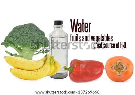 Bottled Water Fruits and Vegetables Great source of H2O isolated on white background