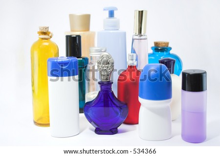 Bottles and jars of beauty aids