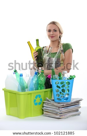 Bottles and paper recycling