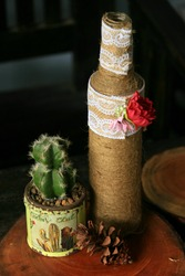 bottles and pots for decorating properties with a vintage rustic theme