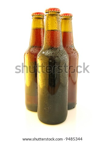 Bottles beer isolated on a over white background