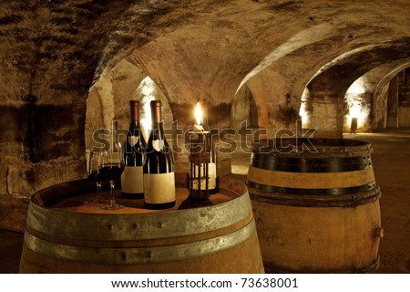 bottles in ambiance in an old cellar in burgundy in france