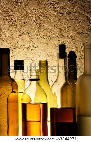 Bottles of alcohol drinks in a bar