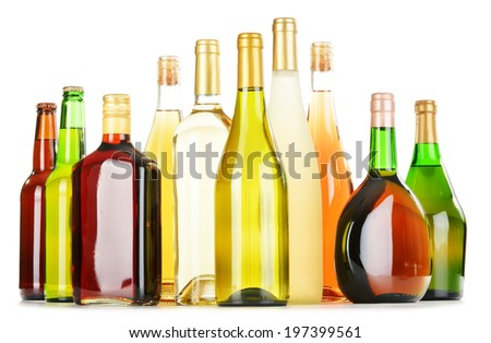 Bottles of assorted alcoholic beverages isolated on white background #197399561