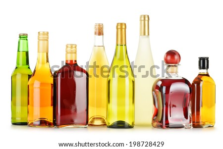 Bottles of assorted alcoholic beverages isolated on white background #198728429