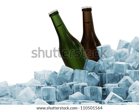 Bottles of Beer in Ice Cubes isolated on white background
