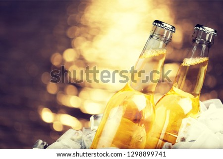 Bottles of beer in ice on blurred background #1298899741