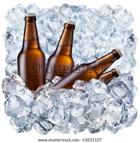 Bottles of beer on ice