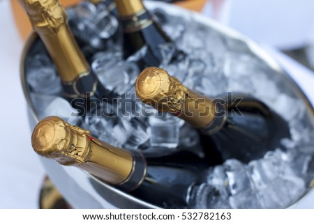 Bottles of Champagne in cooler.