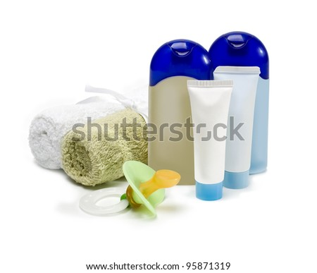 bottles of cosmetics for the care of the newborn on a white background