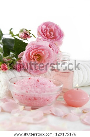 Bottles of Essential Oil for Aromatherapy . Rose Spa