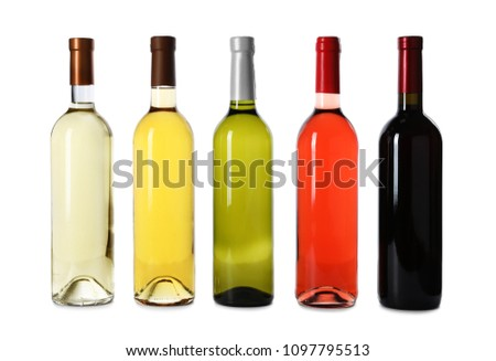 Bottles of expensive wines on white background #1097795513