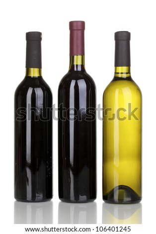 Bottles of great wine isolated on white