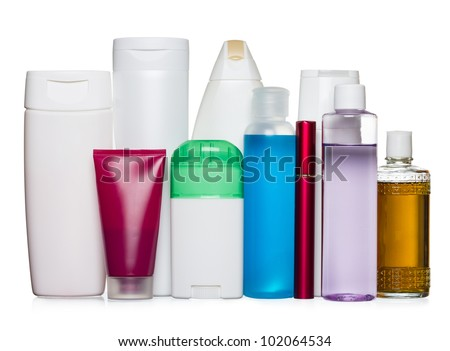Bottles of health and beauty products isolated on white