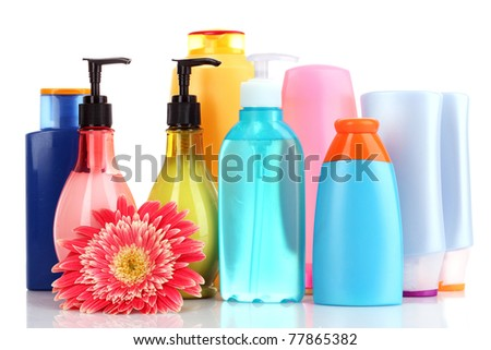 Stock photo bottles of health and beauty products on white background