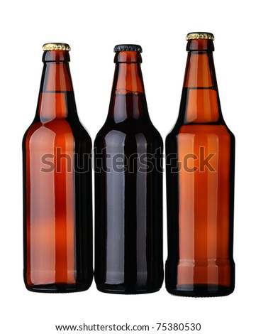 Bottles of lager and dark beer from brown glass, isolated on a white background.
