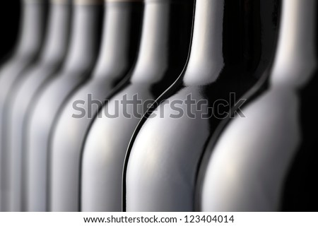 Bottles of red wine in a row