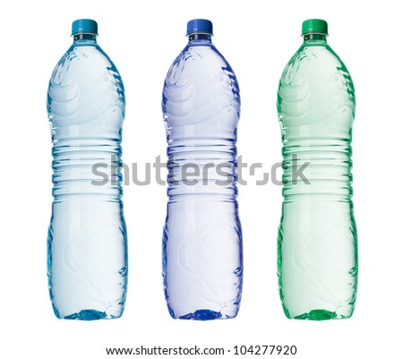 Bottles of water in three colors