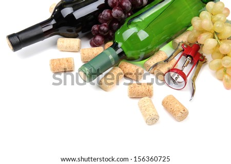 Bottles of wine, grapes and corks, isolated on white #156360725