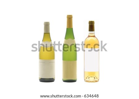 Bottles of wine with blank label - stock photo