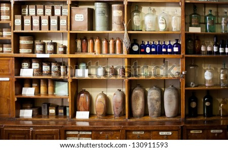 Bottles on the shelf in old pharmacy