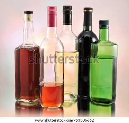 bottles with alcohol