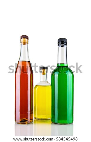 Bottles with alcohol, are isolated on a white background. #584545498
