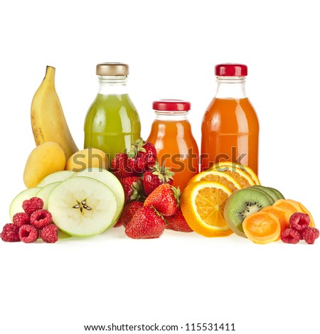 Bottles with juice fruits isolated on white