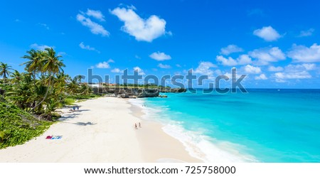 Bottom Bay, Barbados - Paradise beach on the Caribbean island of Barbados. Tropical coast with palms hanging over turquoise sea. Panoramic photo of beautiful landscape. Foto stock ©