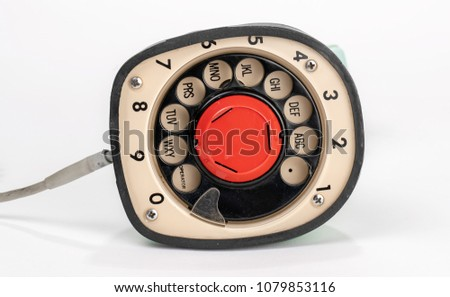 Bottom Dialer of Old Retro Telephone, one piece rotary dial on bottom