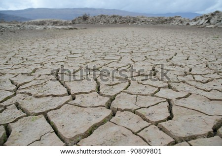 Bottom of dried Bilecko lake in Herzegovina after long drought.