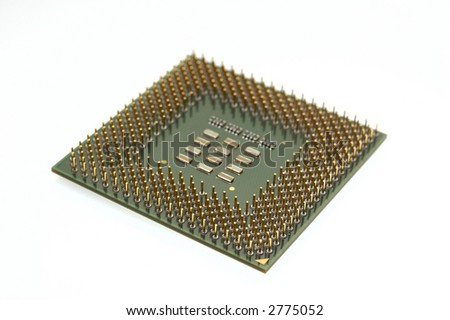 Bottom part of a microprocessor - copper pins, shallow depth of field