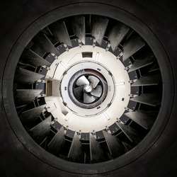 Bottom up view of a Kaplan turbine and guide vanes of a hydropower plant