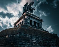 Bottom up view of Kaiser Wilhelm Statue in Koblenz, Germany