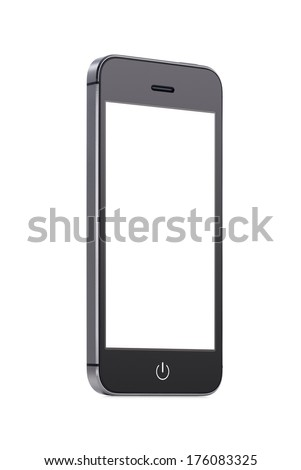 Bottom up view of rotated at a slight angle black modern mobile smart phone with blank screen isolated on white background. High quality.