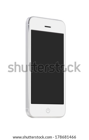 Bottom up view of rotated at a slight angle white modern mobile smart phone with blank screen isolated on white background. High quality.