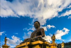Bottom up view of the gilded gold Buddha Dordenma in East Thimphu, Bhutan