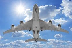 Bottom view airplane takeoff to the sky