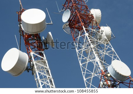 bottom view of  a telecommunications towers with a clear blue sky, La Muela, Saragosa, Aragon, Spain