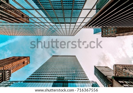 Bottom view of business buildings skyscrapers in New York #716367556