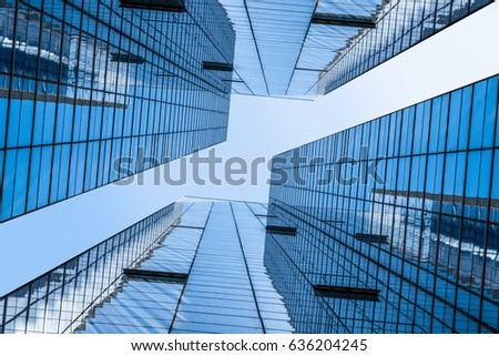 Bottom view of modern office building  #636204245