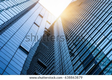 Bottom view of modern office building  #638863879