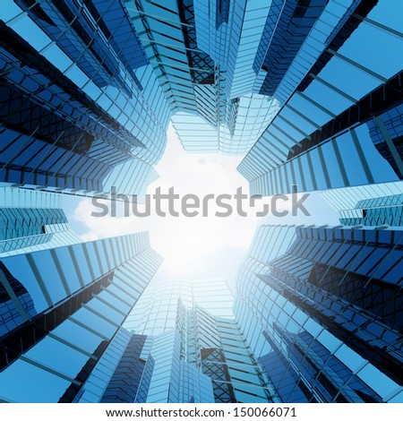 Bottom view of modern skyscraper. Business district #150066071