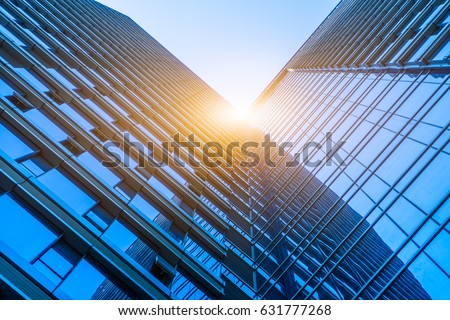 Bottom view of office building window close up  #631777268