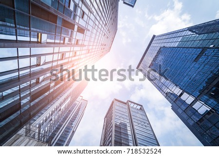 Bottom view of office building window close up  #718532524